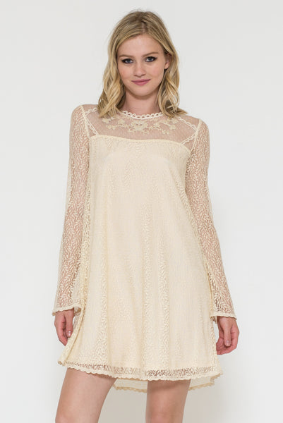 Long Sleeve Lace and Bead Embroidery Dress