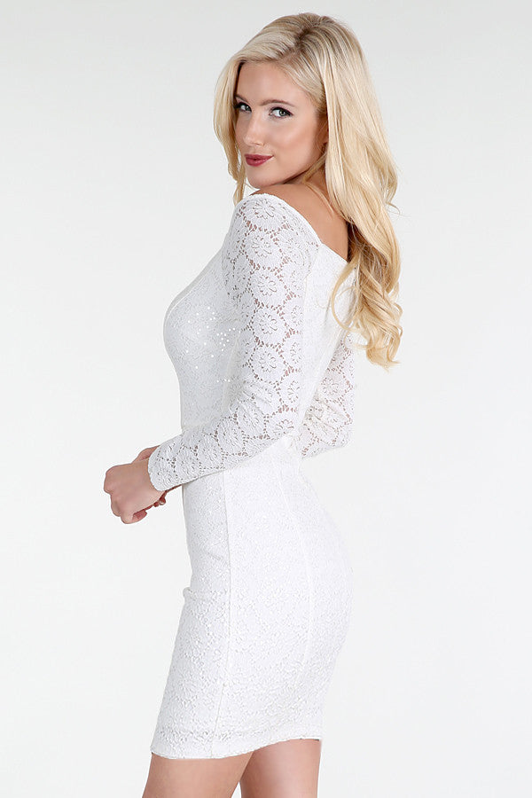 White Sequined Lace Off Shoulder Dress