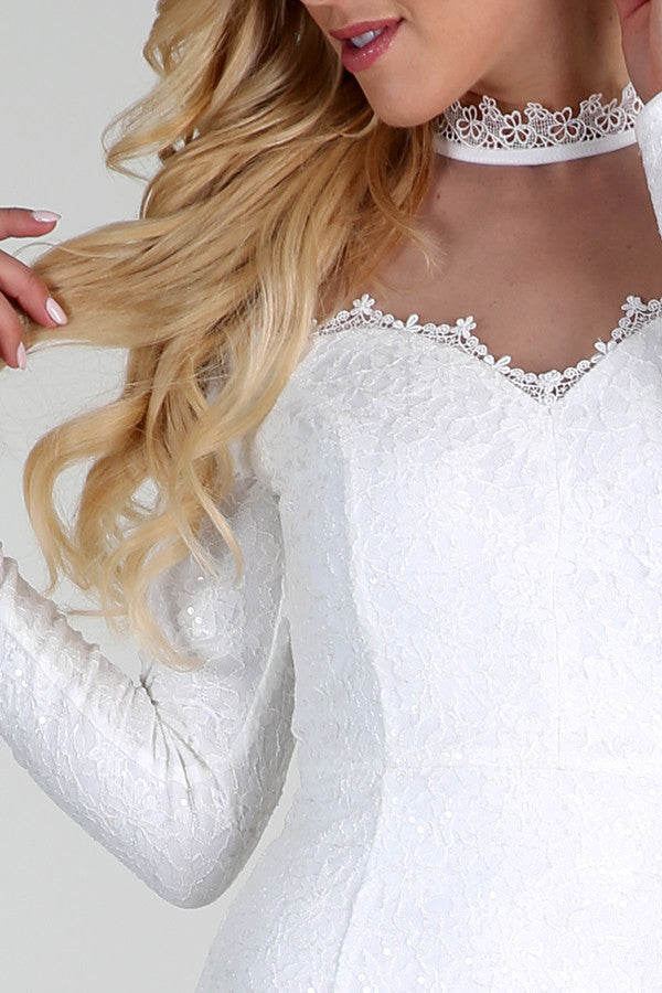 Snow White Long Sleeve Sequined Lace Dress