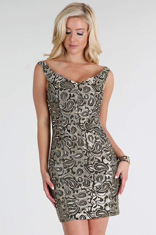 Metallic Gold Embroidery Short Dress