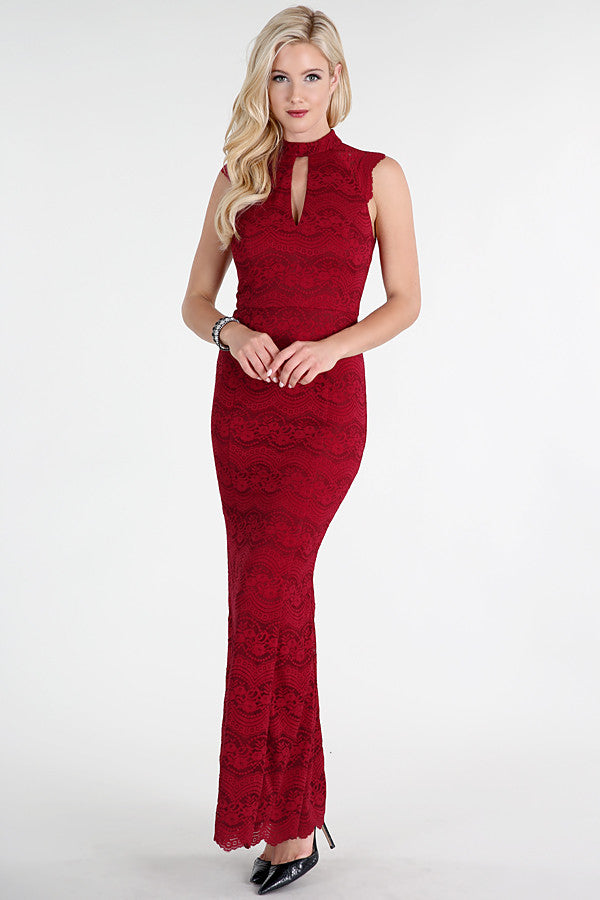 Keyhole Neck Lace Maxi Dress
