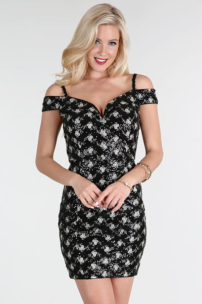 Black Sequin-Embroidered Lace Dress