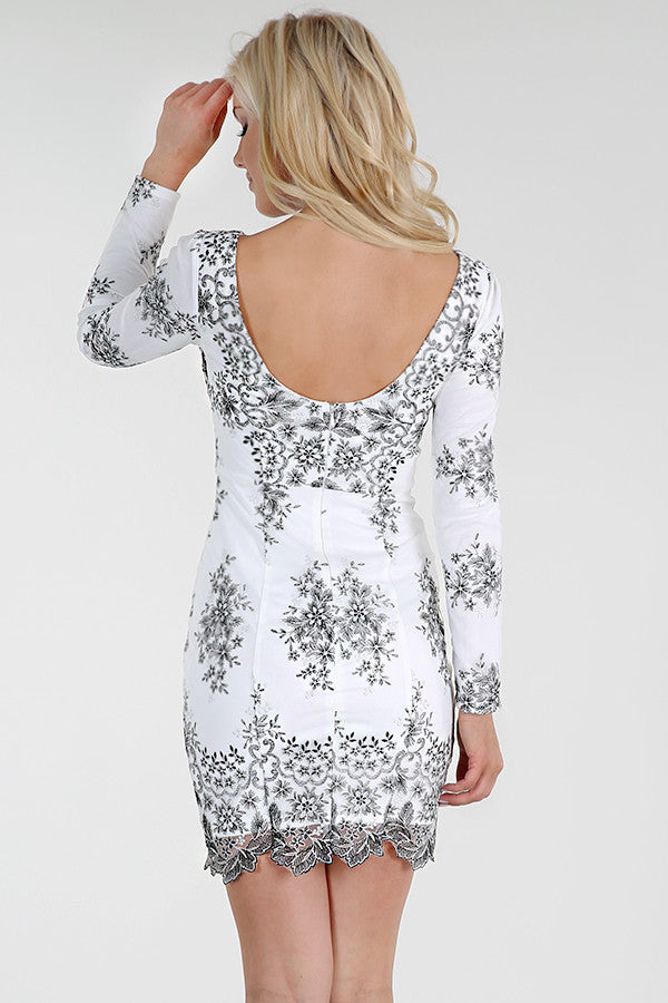 Long Sleeve Metallic Embroidered Dress