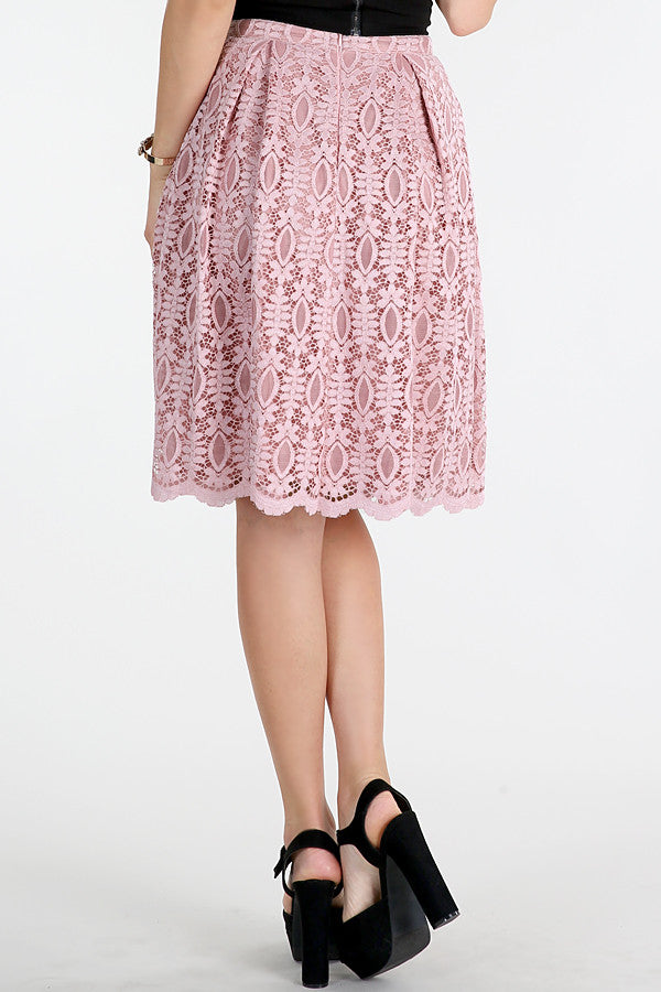 Mauve Pink Scalloped Floral Lace Skirt