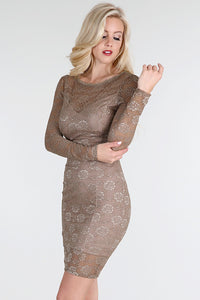 Gold Dot Flocking Lace Dress