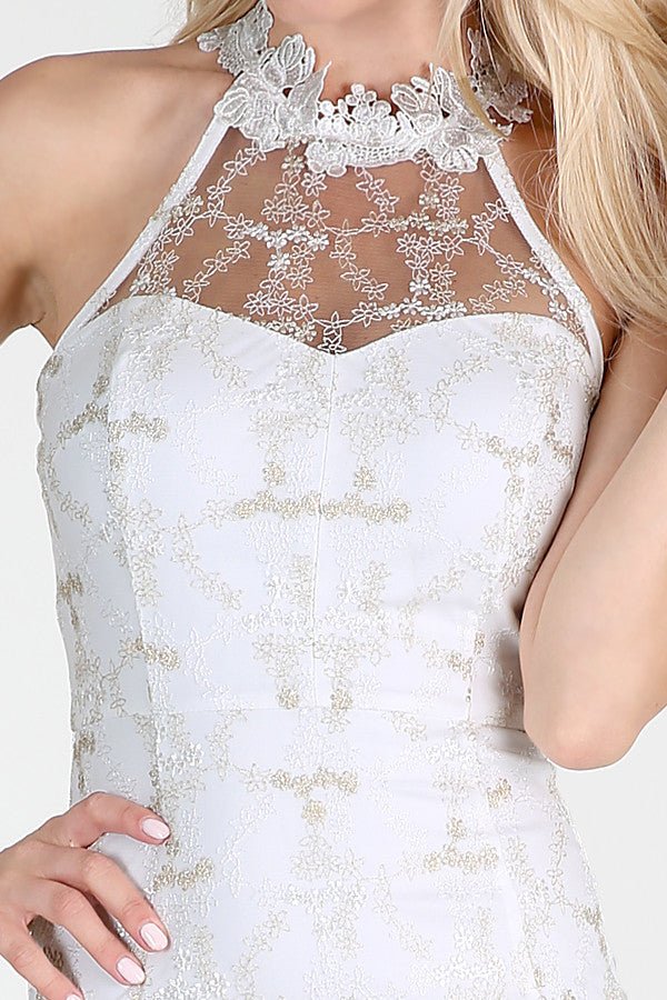 Gold Metallic Floral Embroidered On White Lace Dress