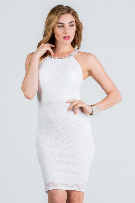 Off-White Embellish Neck Bodycon Short Lace Dress
