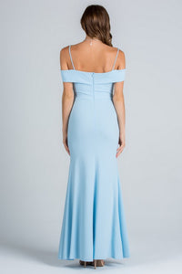 Light Blue Off Shoulder Waist Beaded Long Dress