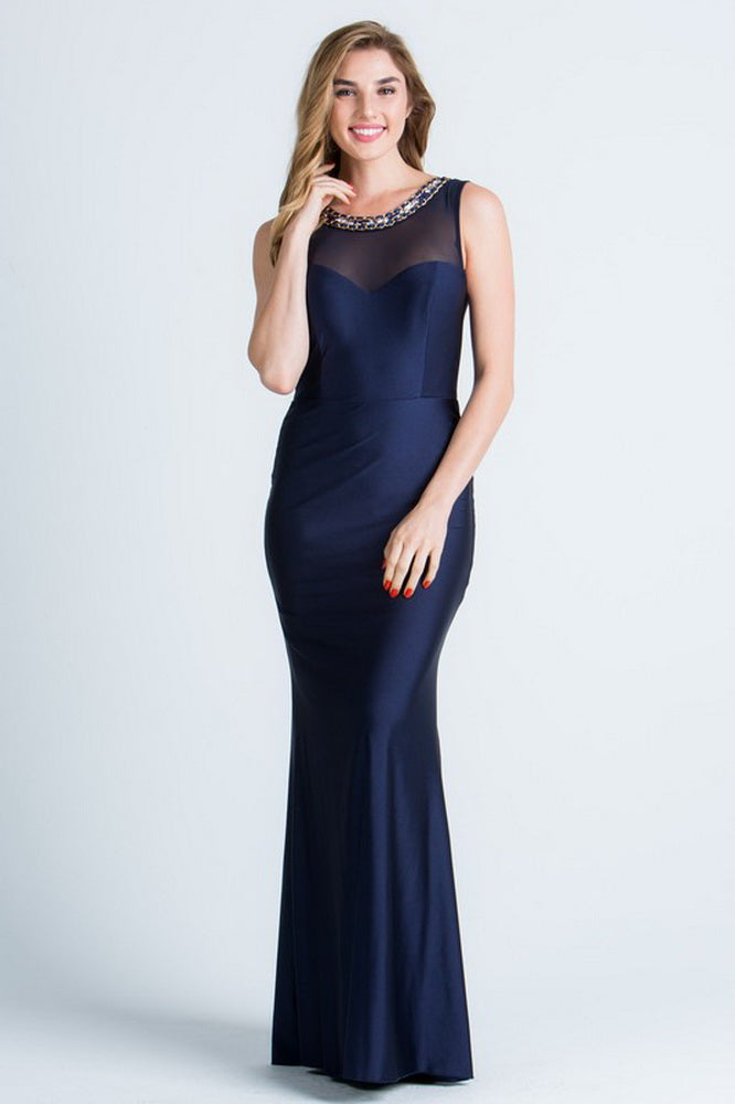 Navy Blue Embellished Neck Long Mesh Insert Long Dress