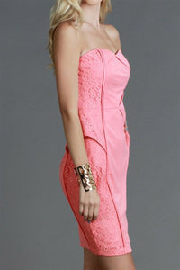 Lace Side Panel Sweetheart Tube Dress