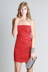 Red Criss-Crossing Tube Dress