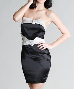 Black Satin Bow Tie Tube Dress