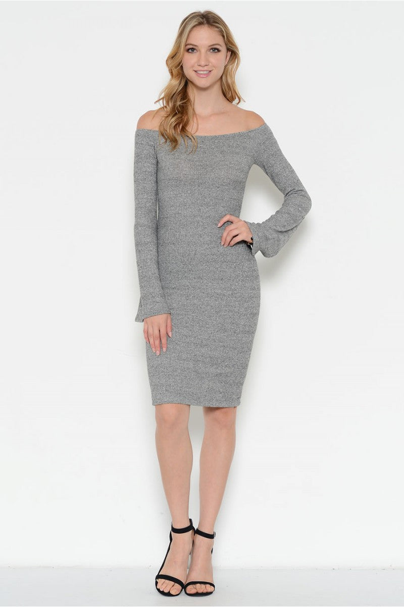 Off Shoulder Long Bell Sleeve Midi Dress