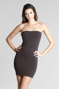 Charcoal Seamless Rib Band Tube Dress