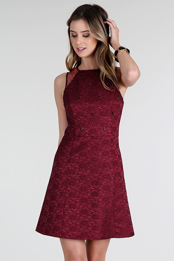 Rudy Red Embellished Stretch Jacquard Dress