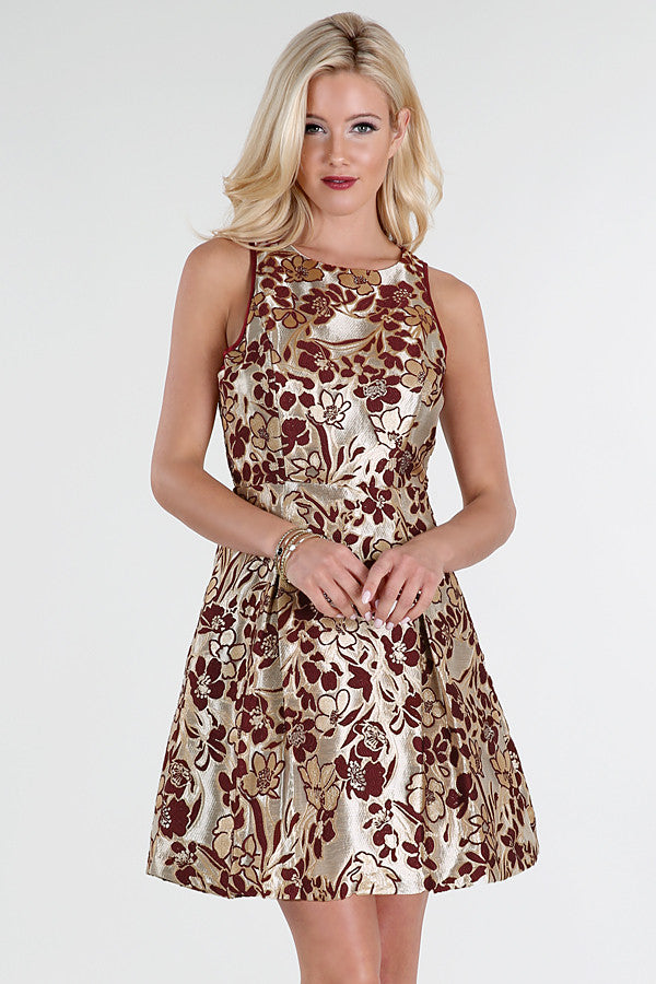 Metallic Gold With Burgundy Flowers Jacquard Dress