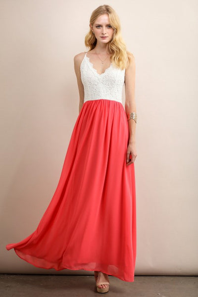 Coral Lace Top Solid Color Maxi Dress
