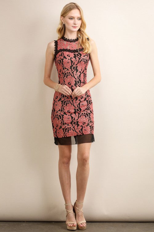 Coral Vintage Bodycon Lace Dress