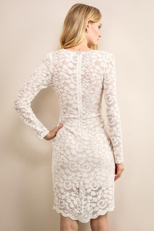 Ivory Long Sleeve Lace Mini High Lo Dress