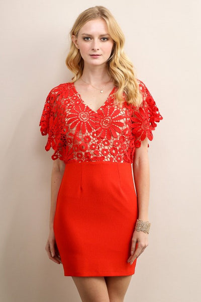 Red Big Flower V-Neck Top Cocktail Dress