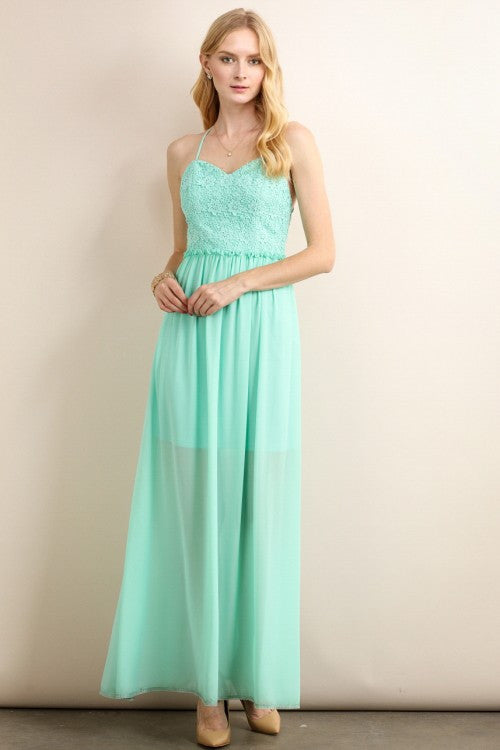Mint Heart Shaped Maxi Dress