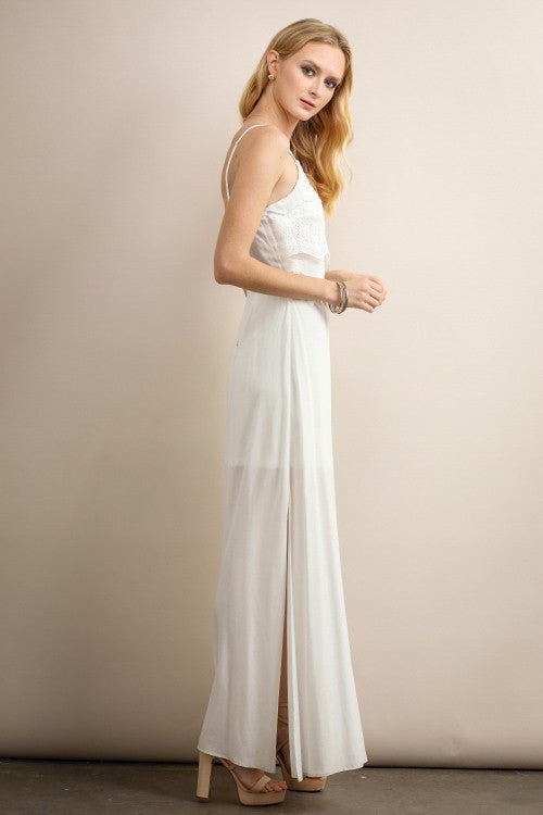 Ivory Scallop Lace Detail Maxi Dress