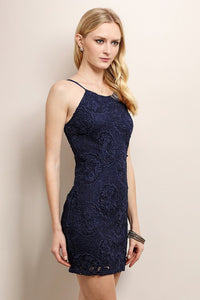 Navy Strap Big Flower Lace Cocktail Dress