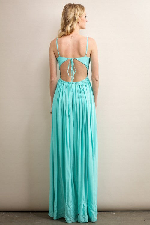 Aqua Open Back & Crochet Top Detail Maxi Dress