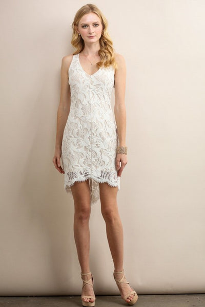 White V-Neck Asymmetrical Hem Lace Cocktail Dress