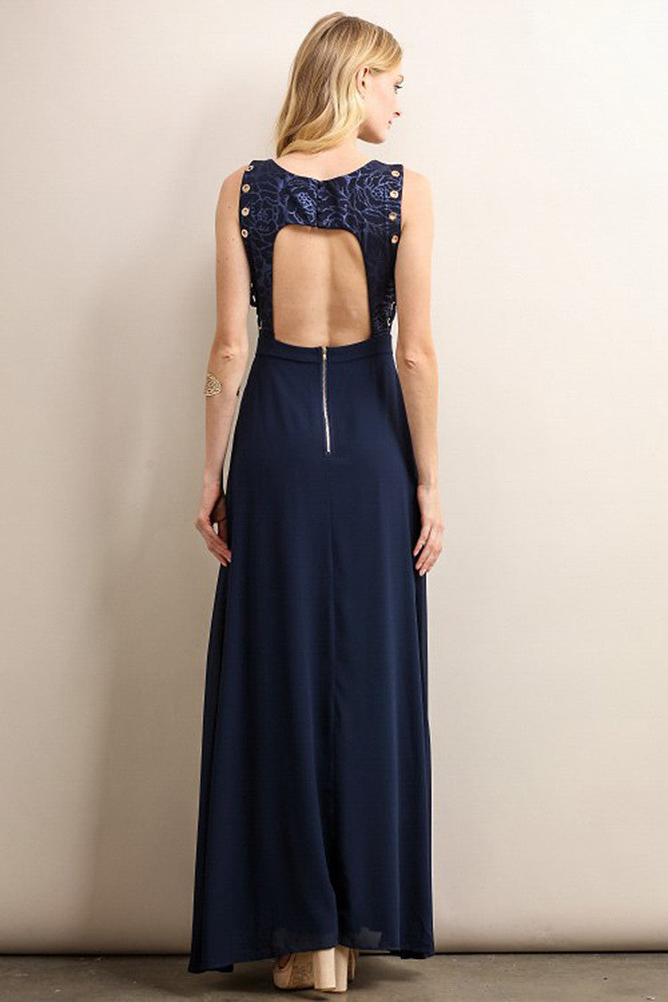 Navy Floral Shoe Laces Side Detail Top Maxi Dress