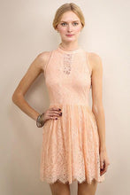 Peach High Neckline Short Lace Dress