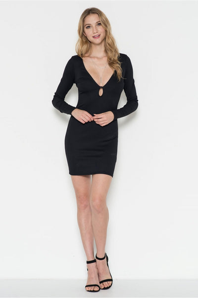 Long Sleeve Deep Open V Neck Fitted Dress