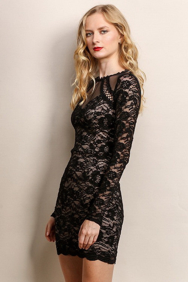 Mesh & Lace Long Sleeve Cocktail Dress