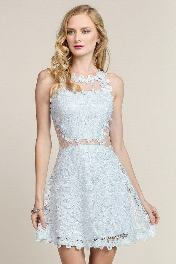 Mesh & Lace Fit and Flare Cocktail Dress – Aquarius Brand