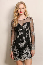 Floral See-Through Long Sleeve Mesh Dress