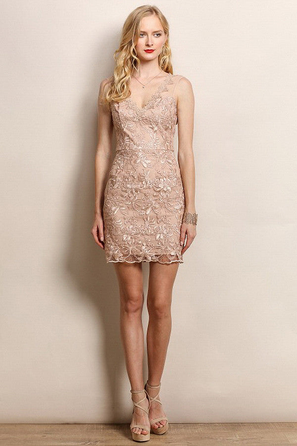 Big Flower Lace Cocktail Dress