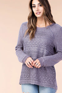 Purple Lace Overlay Long Sleeve Top