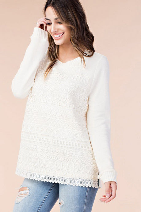 Ivory Lace Overlay Long Sleeve Top