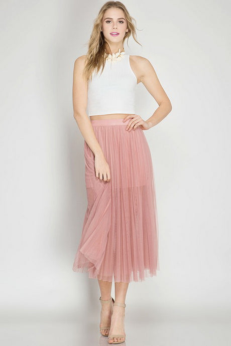 Dusty Rose Pleated Mesh Elastic Waist Midi Skirt