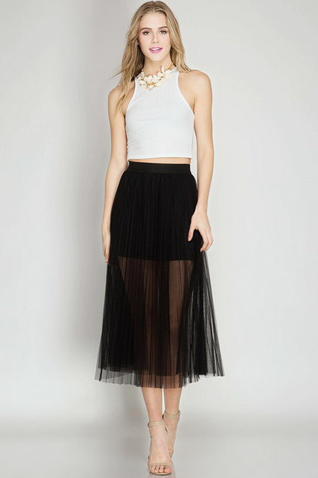 Black Pleated Mesh Elastic Waist Midi Skirt