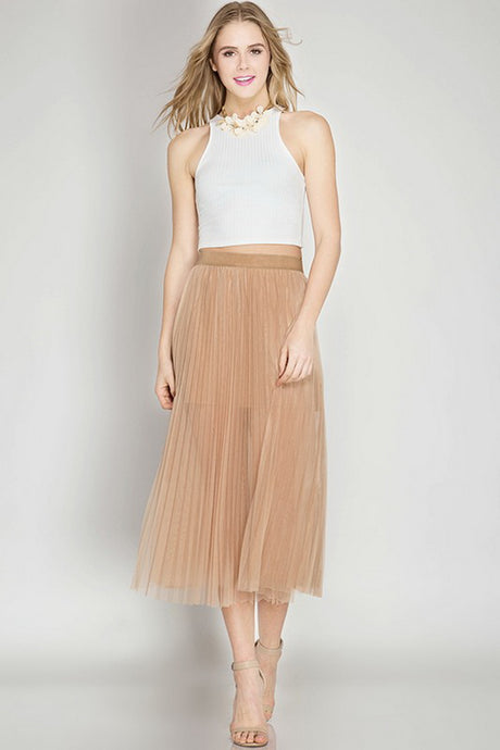Taupe Pleated Mesh Elastic Waist Midi Skirt