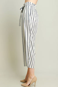 Ivory Elastic Loose Fit Straps Stripe Pants