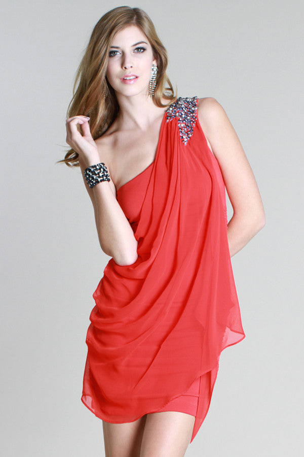 One Shoulder Draped Jeweled Dress
