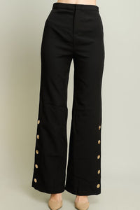 Solid Black Gold Button Trim Pants