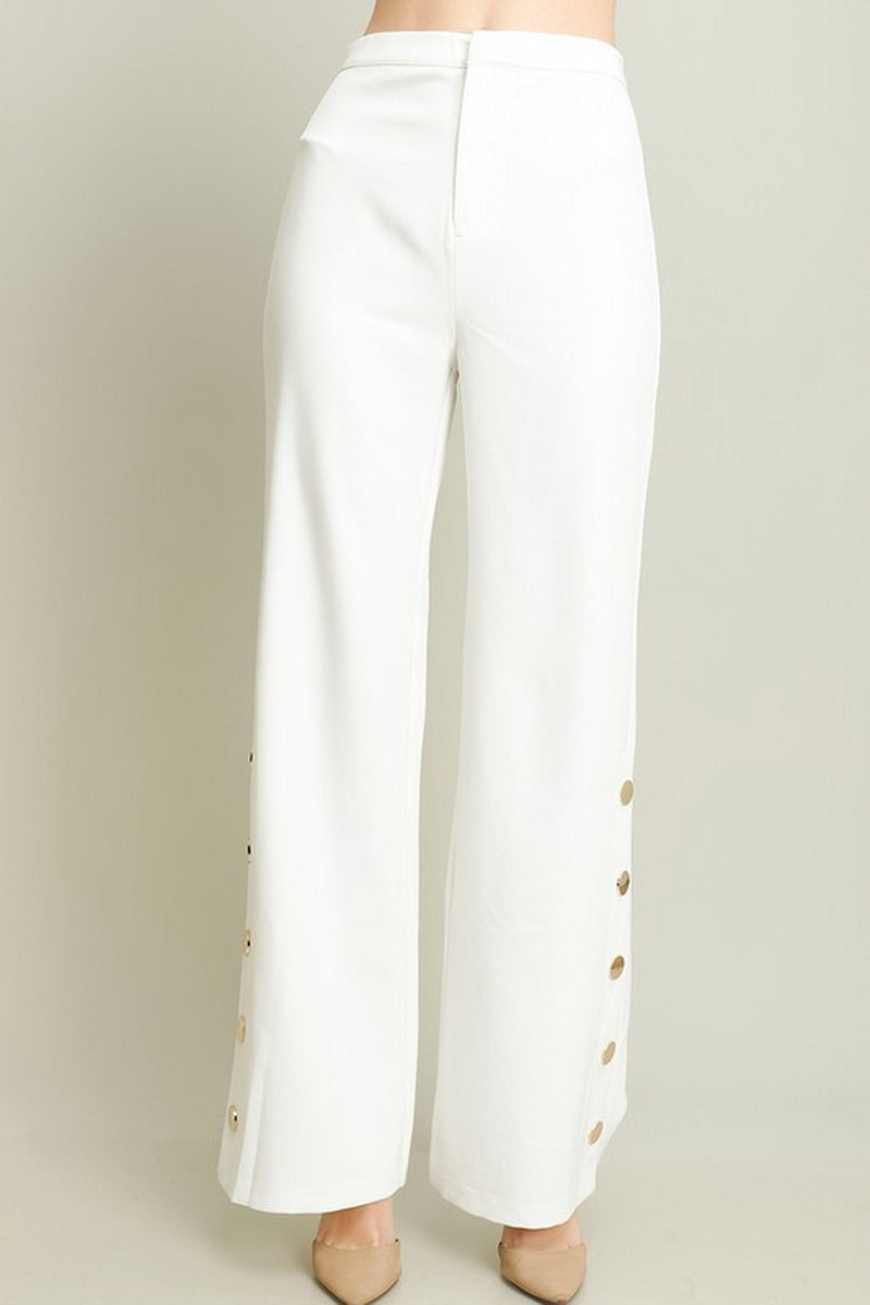 Solid White Gold Button Trim Pants