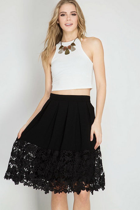 Black Floral Crochet Lace Midi Skirt
