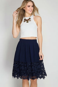 Navy Floral Crochet Lace Midi Skirt