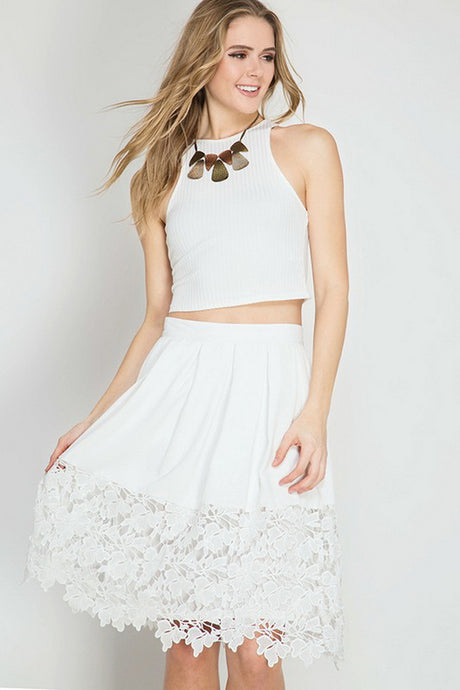 Off White Floral Crochet Lace Midi Skirt