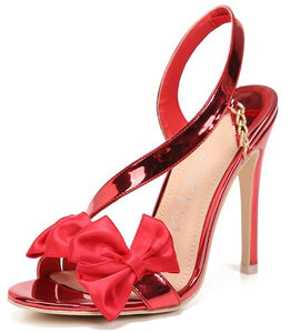 Metallic Red Rose High Heels