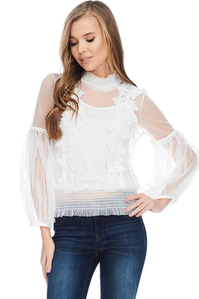 White Lace Embroidery Long Sleeves Flowy Top